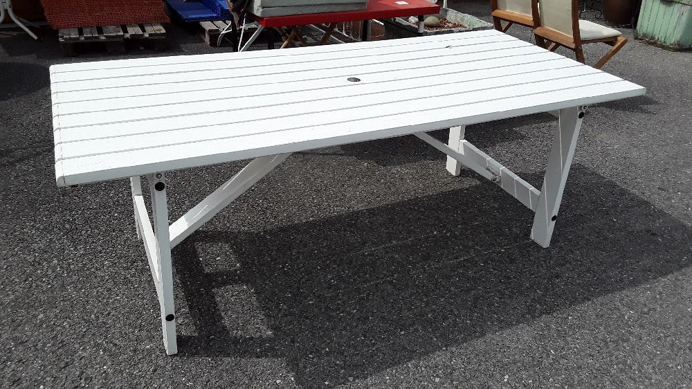 TABLE DE JARDIN 90X200 GROSFILLEX BOUTIQUE BLANCHE PLIABLE ...