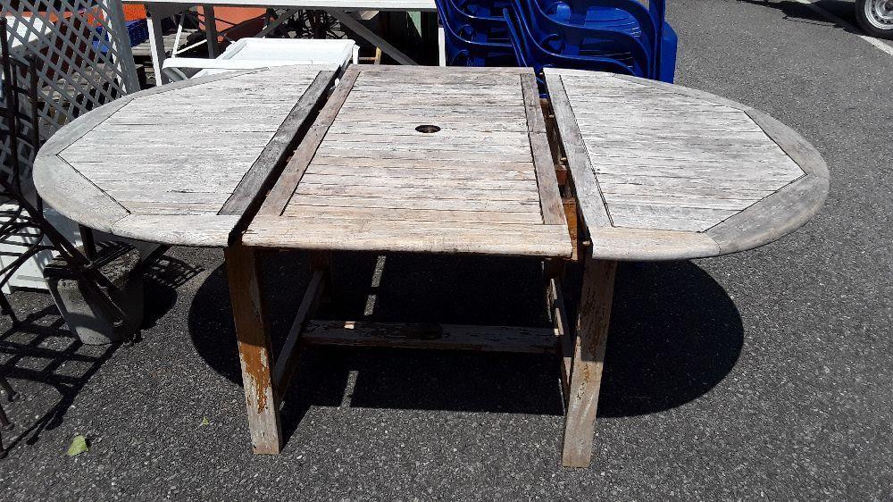 TABLE DE JARDIN BOIS EXOTIQUE RONDE 120 CM + RALLONGE 60 CM ...