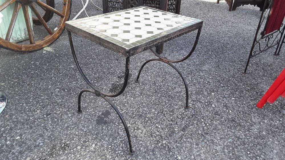 TABLE BASSE DE JARDIN METAL PLATEAU CÉRAMIQUE COULEUR VERT ...