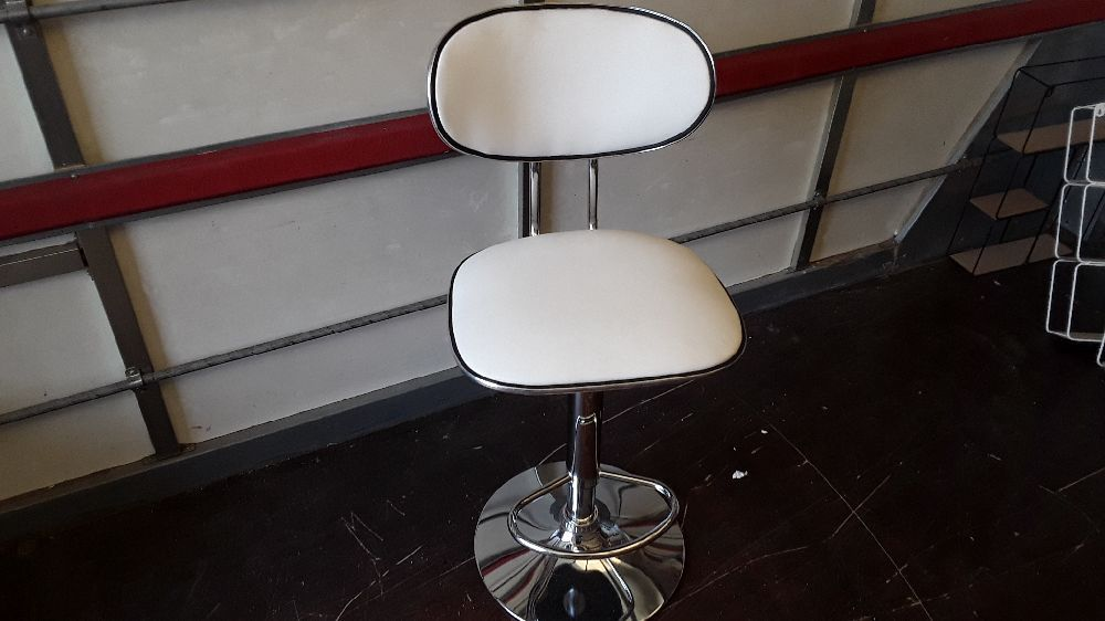 TABOURET DE BAR DESIGN BLANC NOIR REGLABLE