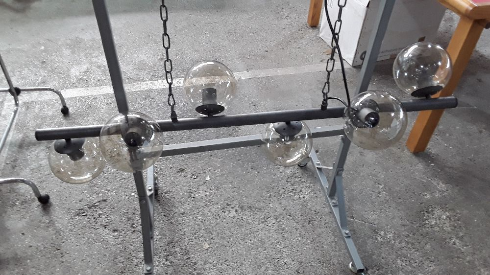 SUSPENSION INDUSTRIELLE 6 LAMPES EN METAL VIEILLI BLOW