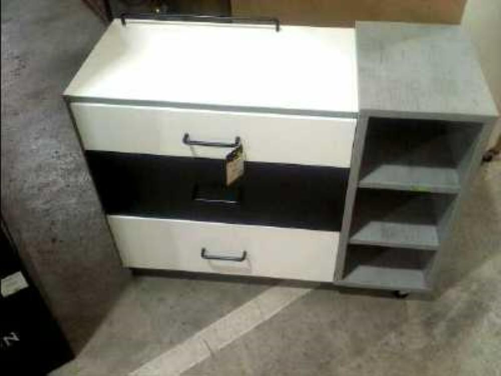 COMMODE 3 TIROIRS 3 NICHES NOIR BLANC 266382