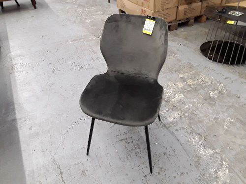 CHAISE VELOURS ANTHRACITE / NEUF DS CARTON