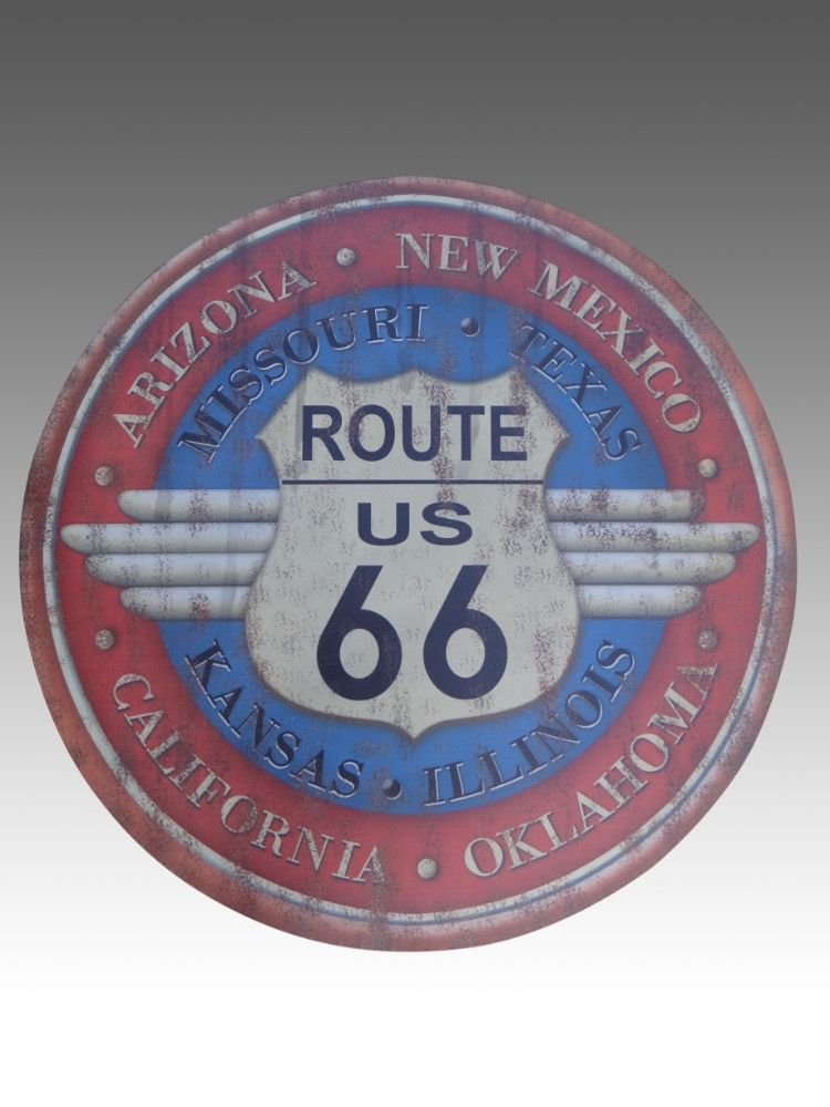 PLAQUE PUBLICITAITE RONDE ROUTE 66  METAL