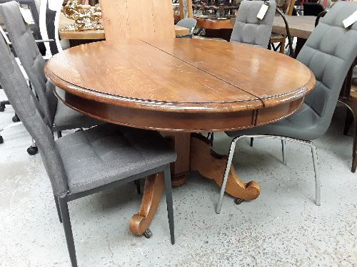 TABLE ANCIENNE CHENE PIED CENTRAL 1 ALLONGE