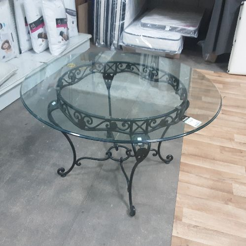 TABLE RONDE PIED METAL PLATEAU VERRE