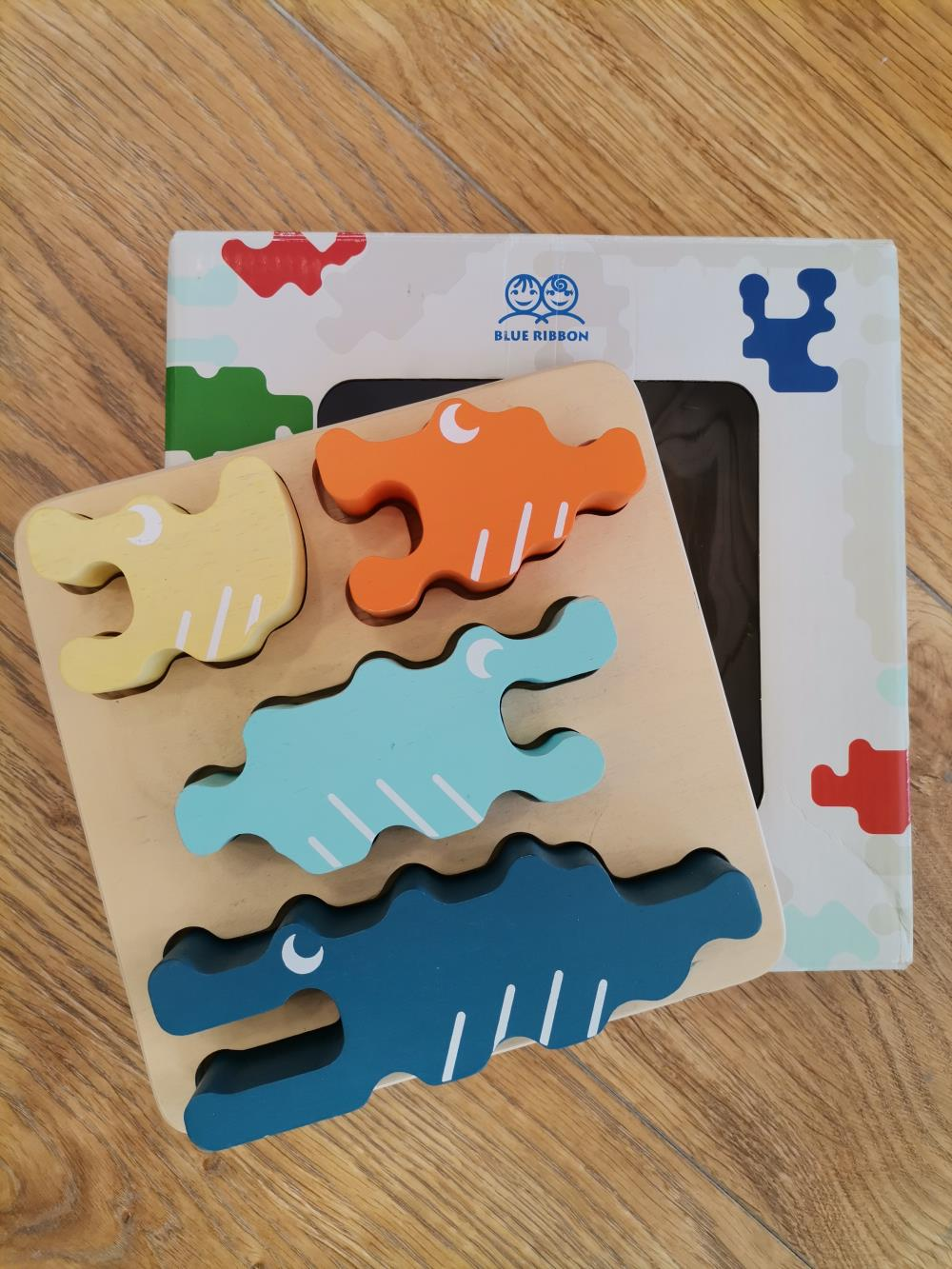 PUZZLE CROCODILE BLOCKS BLUE RIBBON